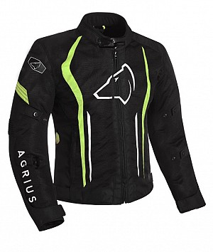 Agrius Phoenix Motorcycle BLACK / HI-VIS 51026-0804 ALL-WEATHER MC JACKET