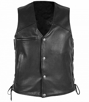 Booker Black leather vest