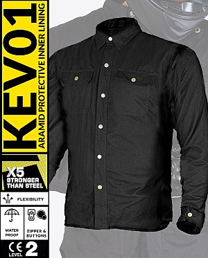 KEV01 FLANELL PREMIUM BLACK WATERPROOF MEKEVLAREN MC SHIRT