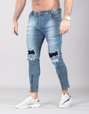 SUPREME AV8 ZIPPER GRAND LIGHT BLUE CARROT FIT JEANS