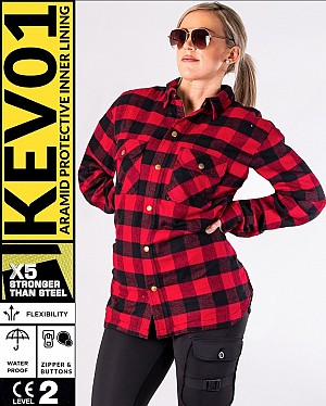 LADY KEV01 FLANELL PREMIUM RED WATERPROOF MEKEVLAREN MC SKJORTA