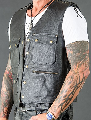 Leather Vest Biker Extreme Black