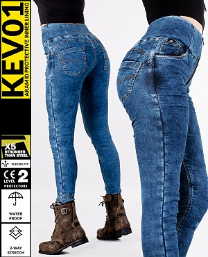 LADY KEV01 DENIM LEGGINGS DIRTYBLUE WATERPROOF MC BYXA WP12
