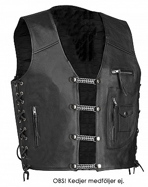 Traxbiker Black Leather Vest