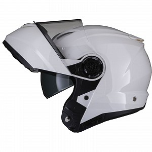 Black Optimus II Flip Front Gloss White 53072503 Opening mc helmet