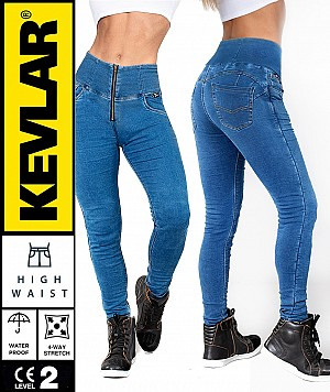 LADY KEVLAR DENIM LEGGINGS ORIGINAL BLUE WATERPROOF MC BYXA WP56