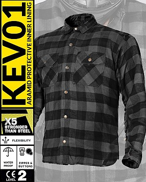 KEV01 FLANELL PREMIUM GREY WATERPROOF motorcycle shirt