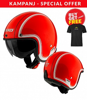 AXXIS OF507EN HORNET SV ROYAL A5 FLUOR MATT RED Jet mc helmet + Tshirt Axxis Black