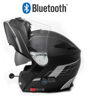 BLUETOOTH BLINC V5 FOSH GRAY MATT STEREO MC HELMET