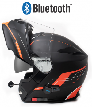 BLUETOOTH BLINC V5 FOSH ORANGE MATT STEREO MC HELMET