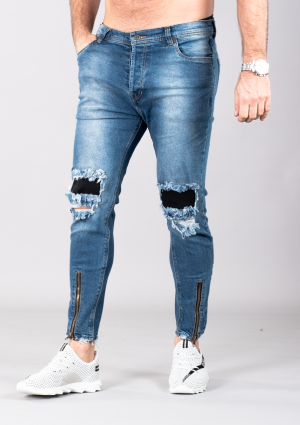 SUPREME AV8 ZIPPER GRAND BLUE CARROT FIT JEANS