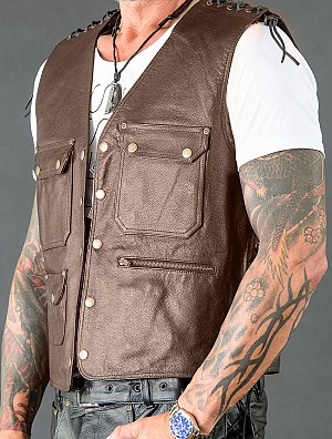 Leather Vest Biker Extreme Dark Brown