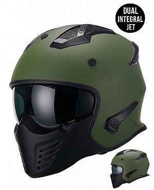 DUAL MOTO PREDATOR MATT ARMYGREEN MC / CROSS HELMET