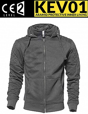 KEV01 CLASSIC GRAY CE PROTECTION MC HOODIE