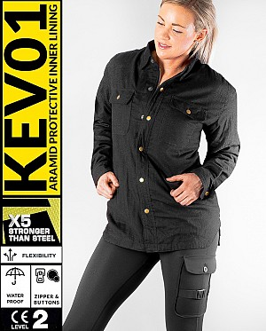 LADY KEV01 FLANELL PREMIUM BLACK WATERPROOF MEKEVLAREN MC SKJORTA
