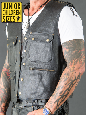 JUNIOR / KID LEATHER VEST BIKER EXTREME SVART