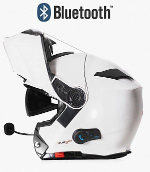 BLINC BLUETOOTH MATT WHITE RS983 STEREO MC HELMET