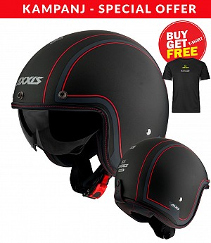 AXXIS OF507EN HORNET SV ROYAL B1 MATT BLACK Jet motorcycle helmet + T-SHIRT AXXIS BLACK