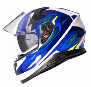 SPORTTOUR 917-BW WHITE BLUE GLOSS MOTORCYCLE HELMET