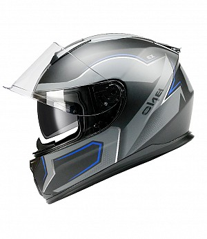 BNO INTEGRAL X3 BLUE MATT SUNVISOR MC HELMET