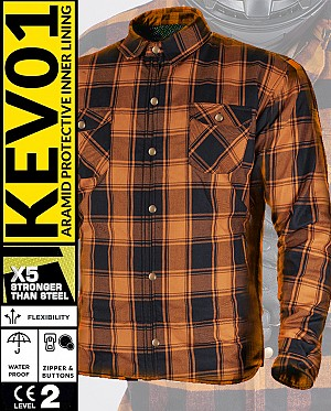 KEV01 FLANELL PREMIUM ORANGE WATERPROOF MC SKJORTA