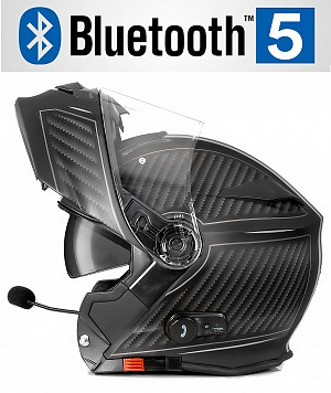 BLUETOOTH BULLET HD MATT GRAY V5 SOLVISIR MC HELMET