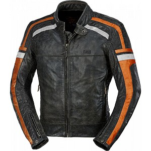 ATA HD Riverside MOTORCYCLE LEATHER JACKET ORANGE 90125