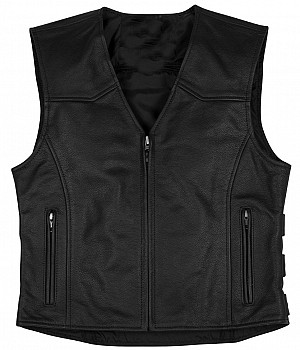 Bikervest Reggady Black leather vest