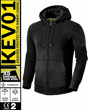 KEV01 PREMIUM CLASSIC BLACK WATERPROOF MEKEVLAREN MC HOODIE