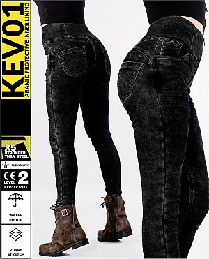 LADY KEV01 DENIM LEGGINGS DARKSHADE WATERPROOF MC BYXA WP96