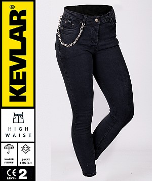 LADY KEVLAR V2 CRUISER WP DARKKNIGHT BOBBER MC JEANS