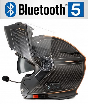 BLUETOOTH BULLET HD MATT ORANGE V5 SOLVISIR MC HELMET