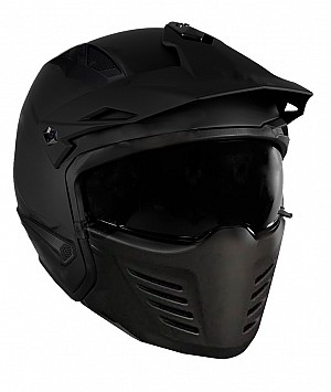 DUAL MOTO PREDATOR MATT BLACK MC / CROSS HELMET