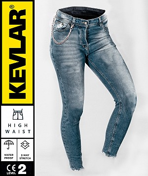 LADY KEVLAR CRUISER WP RETRO BLUE BOBBER MC JEANS